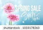 pink gerbera daisies on a blue... | Shutterstock .eps vector #1033178263