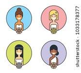 cute cartooon smiling brides...   Shutterstock .eps vector #1033178377