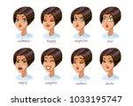 brunette woman character... | Shutterstock .eps vector #1033195747