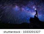 silhouette of climber or... | Shutterstock . vector #1033201327