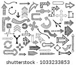 hand drawn sketched arrows in... | Shutterstock .eps vector #1033233853