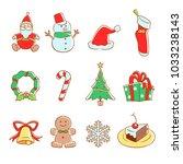 vector christmas icon set.   Shutterstock .eps vector #1033238143