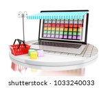 3d illustration. laptop with... | Shutterstock . vector #1033240033