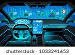 cockpit of autonomous car. self ... | Shutterstock .eps vector #1033241653