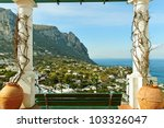 View to the sea from Capri island. - stock photo
