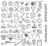 sport equipment outline icon set | Shutterstock .eps vector #1033261057