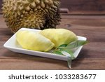 Durian And Durian Leaf On Whit...
