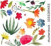 watercolor flowers smears ... | Shutterstock . vector #1033285453