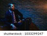 respectable handsome man in... | Shutterstock . vector #1033299247