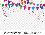 colorful confetti and ribbon... | Shutterstock .eps vector #1033300147