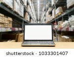 laptop with white blank screen... | Shutterstock . vector #1033301407