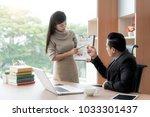 happy asian businesswoman... | Shutterstock . vector #1033301437