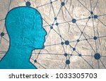 silhouette of a man. head side... | Shutterstock . vector #1033305703