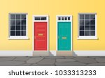 colorful house facade with two... | Shutterstock .eps vector #1033313233