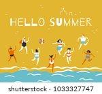 men and women in bathing suits... | Shutterstock .eps vector #1033327747