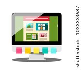 computer with colorful papers... | Shutterstock .eps vector #1033333687