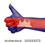 cambodia flag on thumb up... | Shutterstock . vector #103333373