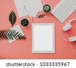 blogger or freelancer workspace ...   Shutterstock . vector #1033335967