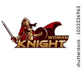 woman knight mascot  | Shutterstock .eps vector #1033336963