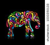 elephant ornate  sketch for...   Shutterstock .eps vector #1033350133