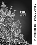 graphic prehistoric plants... | Shutterstock .eps vector #1033360453