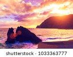 beautiful seascape. sandy...   Shutterstock . vector #1033363777