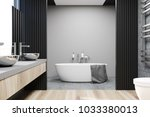 gray and concrete bathroom... | Shutterstock . vector #1033380013