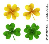 gold and green clover leaves... | Shutterstock .eps vector #1033380163