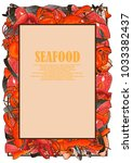 seafood framed in the form of a ... | Shutterstock .eps vector #1033382437
