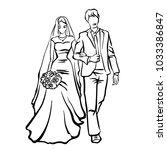 bride and groom. joyful wedding ... | Shutterstock .eps vector #1033386847