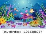 marine habitats and the beauty... | Shutterstock .eps vector #1033388797