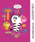 poster with little african... | Shutterstock .eps vector #1033397857