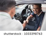 driver and friend or customer... | Shutterstock . vector #1033398763