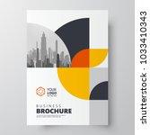 Circles theme Flyer brochure design template cover yellow color | Shutterstock vector #1033410343