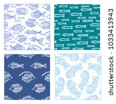 vector set of seamless fish and ... | Shutterstock .eps vector #1033413943