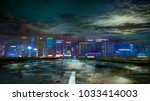 the road to the night city... | Shutterstock . vector #1033414003