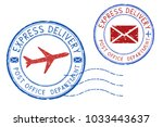 express delivery postmarks.... | Shutterstock . vector #1033443637