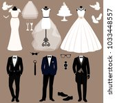 wedding card with the clothes... | Shutterstock .eps vector #1033448557