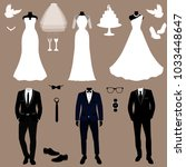 wedding card with the clothes...   Shutterstock .eps vector #1033448647