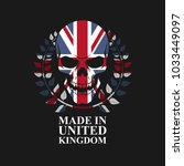 skull on united kingdom flag | Shutterstock .eps vector #1033449097