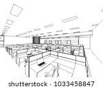 interior outline wireframe... | Shutterstock .eps vector #1033458847