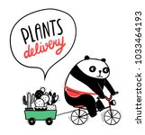 cute cartoon panda rides a... | Shutterstock .eps vector #1033464193