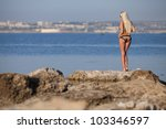 girl at the sea. attractive... | Shutterstock . vector #103346597