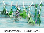 Assorted Hanging Herbs On An...
