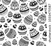 black and white ink easter eggs ...   Shutterstock . vector #1033475587