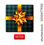 wrapped gift box with ribbon... | Shutterstock .eps vector #1033477933