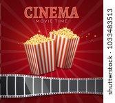 popcorn bucket isolated. full... | Shutterstock .eps vector #1033483513