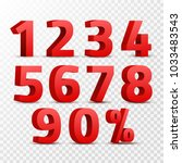 Set of 3D red numbers sign. 3D number symbol with percent discount design isolated. | Shutterstock vector #1033483543