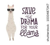 cute alpaca with glasses hand... | Shutterstock .eps vector #1033487347