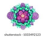 watercolor ornamental purple...   Shutterstock . vector #1033492123
